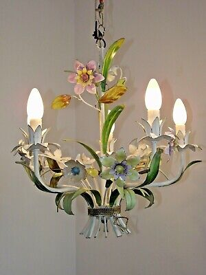 Vintage French Tied Bouquet Floral Pastel Color 5 Arm Tole-Ware Chandelier 1227
