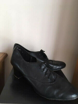 Black Starlite Oxford Tap Shoe, Cuban Heel, UK size 6
