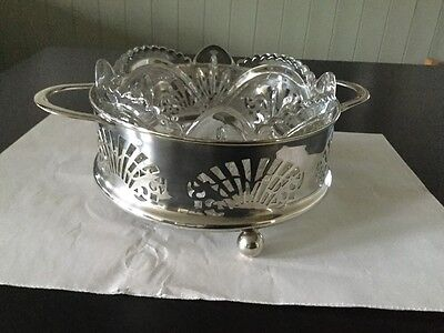 EPNS Silver Circle with Victorian Stamped Glass Bowl about 95 yrs old