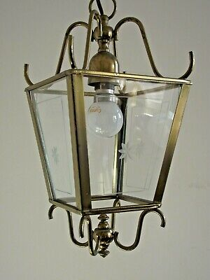 Vintage French Aged Brass Effect Metal Square Etched Glass Hall Lantern 1451