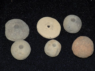Pre-Columbian Clay Bead Collection, Set of 6, Clay Disc Beads, Clay Round Beads