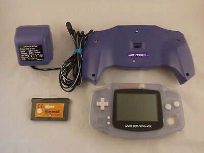 Nintendo GameBoy Advance GBA Glacier Clear Blue with Game & Joytech Power Supply