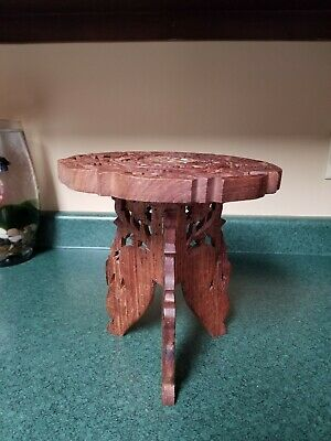 Vintage Carved Plant Stand, Inlaid Wood, Floral Design, 3 Leg Fold Up, 9 Inch