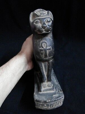 EGYPTIAN ANTIQUES ANTIQUITIES Seated Cat Bastet Ubaste Bast Statue 2290-2660 BC