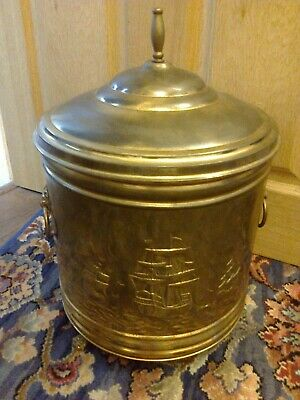 Brass Coal/Log Bucket With Lid Galleon Ships 2 X Lion Handles 3 X Lion Feet