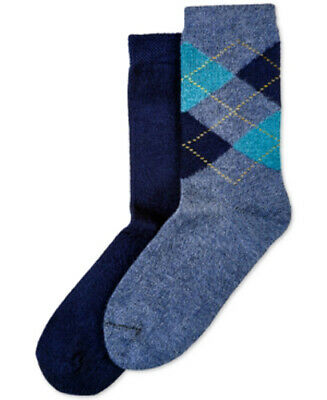 F102 Hue Heather Blue Women's 2-Pk. Argyle & Solid Boot Socks