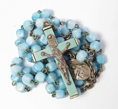Vintage Religious 1950s Blue Square Glass Bead Rosary Complete Pale Blue Beads