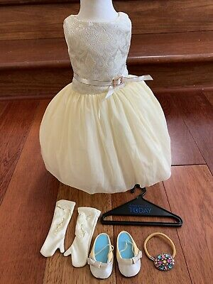 American Girl Gala Party Fancy Outfit Set Dress Hair Piece Gloves Shoes for Doll
