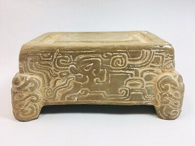 Ancient Pre-Columbian White Pottery Terracotta Interweave Deity Pedestal Mayan
