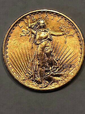 Beautiful 1922-P $20 Dollar Saint-Gaudens Gold Double Eagle Coin - Uncertified