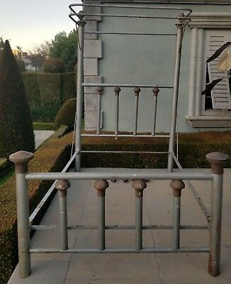 Antique Double  Bed Frame & Canopy  Tubular Iron & Brass Knobs C 1900 REDUCED