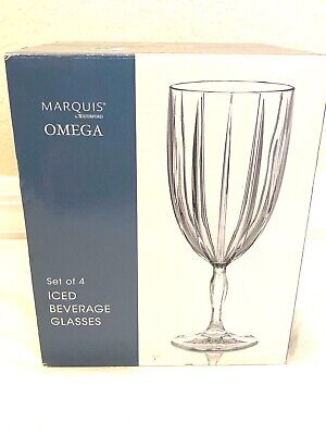 Marquis Waterford Crystal Iced Beverage Wine Glasses Set 4 Omega Pattern NEW