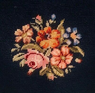 Antique Vintage Needlepoint Tapestry Seat Chair Pillow Cover Blue Floral