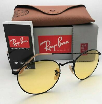 Photochromic RAY-BAN Sunglasses ROUND METAL RB 3447 9066/4A 53-21 Black w/Yellow