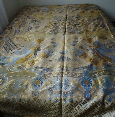Vintage Oriental Asian Silk or Satin Table Cloth or Bed Cover with Fringe