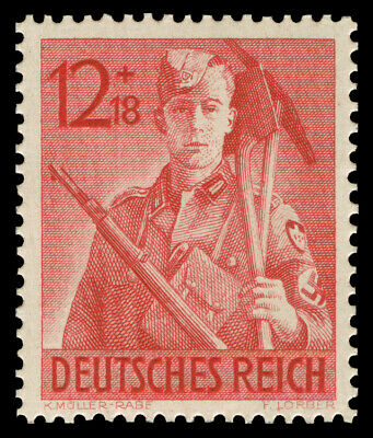 GERMAN WW2 WWII WK2 RARE NAZI STAMP Hitler Youth Working for THIRD Reich #12 MNH
