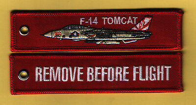 F-14 Tomcat Remove Before Flight Bordado Aviación Llavero/Llavero/Etiqueta de