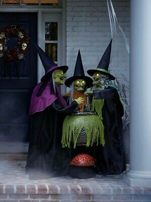 Halloween Props Life Size Decor Cauldron Witches Animated Lighted Sounds Lights