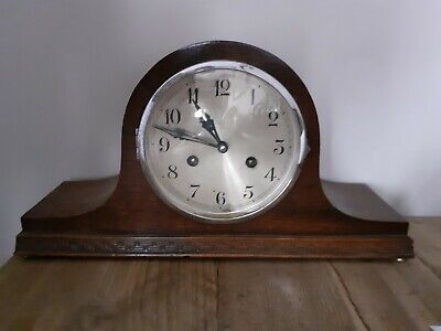 VINTAGE CLOCK Napoleon Hat Shape. Key wind system. Wind up for half hour chimes.