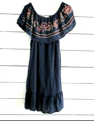 KNOX ROSE Sz Small Dress Embroidered Festival Off Shoulder Navy Red Pink Floral