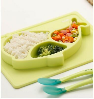 Safe Baby Toddler Silicone Placemat Feeding eating Plates and spoon set Green