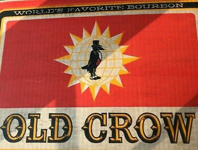 Vintage Old Crow Bourbon Whiskey 1/2 Gallon Case Empty Box. Great Graphics!!!