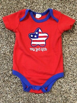 Red & Blue Short Sleeved Shirt w/ Snaps. 4th of July. Size: 3-6 Months.