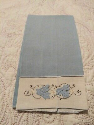 "Gorgeous Medium Blue Madeira Applique & Embroidered Linen Hand Towel 19"" by 11"""
