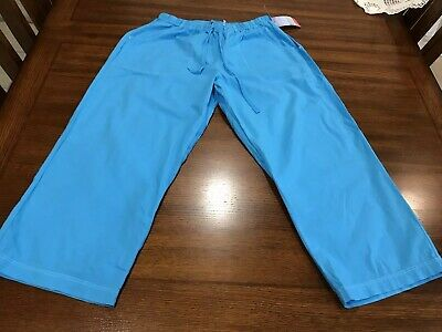 Fresh Produce Relaxed Fit Capri Pull On Pants Drawstring 100% Cotton Blue S