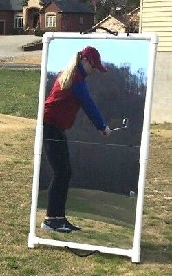 Golf Swing Aid 2'x4' Mirror Folds for Easy Transport--Writeable surface