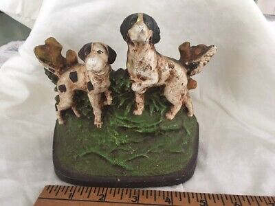 Painted Cast Iron Pointer Setter Dogs Doorstop Hubley Bradley & Hubbard ? c1910