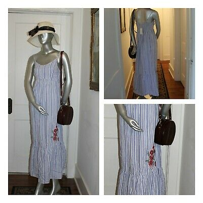 Nwt No Comment Ny.la Embroidered Red Flowers Blue White Stripes Maxi Dress Sb1