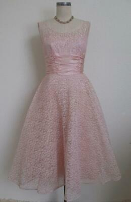 Vintage 50s Lace and Satin Party Dress XS Pink Formal Rockabilly Full Crinoline