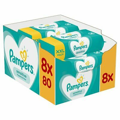 Pampers Sensitive Bebe Lingettes 8X80 - total de 640 Lingettes - mega paquet
