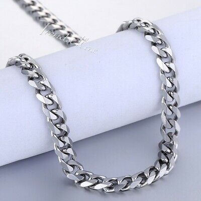 45-65cm Stainless Steel Silver Tone Chain Cuban Curb Men Necklace 3/5/7/9/11mm