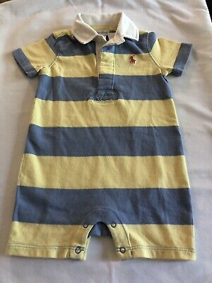 Ralph Lauren Romper Baby Boys 9 Months Blue/ Yellow Polo One Piece New With Tags