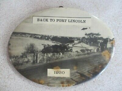 1930 oval panorama souvenir wall hanging pic BACK TO PORT LINCOLN South Aust