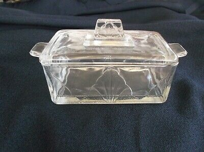 Vintage Pressed & Etched Glass Butter Dish Crystal look - VGC
