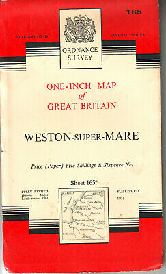 WESTON SUPER MARE ORDNANCE SURVEY MAP ONE INCH MAP ORIG PRICE 5/6d VGC