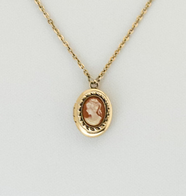 Small Cameo Locket Necklace. Tiny Locket Cameo for her. Victorian Necklace.