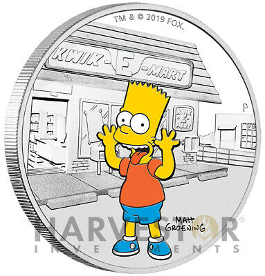 2019 The Simpsons - Bart Simpson - 1 Oz. Silver Coin - With Ogp - Mintage 5,000