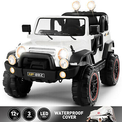 12V Electric Battery Kids Ride on Car Truck Toys LED MP3 w/Remote Control White