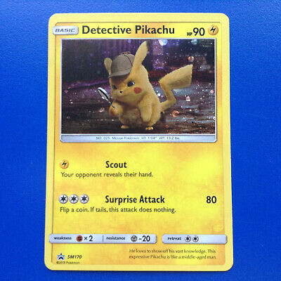 Pokemon DETECTIVE PIKACHU SM170 Cafe Figure Collection Promo Card + x2 STICKERS
