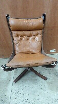 Vintage Leather Falcon Chair Scandinavian Mid Century Sigurd Ressell Chair