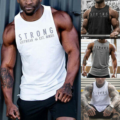 AU Mens Fitness Activewear Tops T-Shirt Gym Bodybuilding Muscle Tee Vests