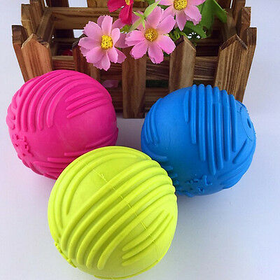 Indestructible Rubber Ball Pet cat Dog Training Chew Play Fetch Bite `OI