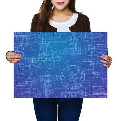 A2 | Blue Prints Engineer - Size A2 Poster Print Photo Art Student Gift #2388-1