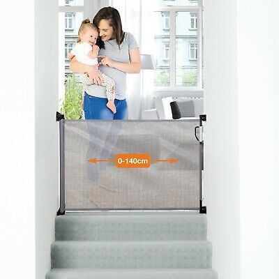 Dreambaby Retractable Mesh Safety Gate, Baby & Dog Pet Stair Gate, 140 cm, Grey