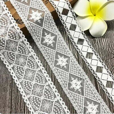1yd Water Soluble Geometric Lace Trim Ribbon Applique Embroidered Sewing Craft