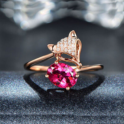 Engagement Rose Gold Ring Wedding Adjustable Ring Red Ruby Womens Jewelry